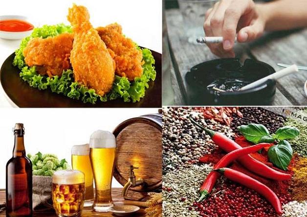 Mẹ nên tránh ăn đồ cay nóng, nhiều chất béo và tuyệt đối không sử dụng các thực phẩm có cồn, chất kích thích vì đây đều là những thực phẩm dễ làm giãn cơ thắt thực quản