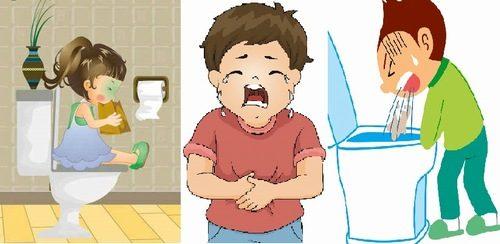 Khi bị viêm dạ dày ruột cấp, trẻ sẽ có biểu hiện đi ngoài nhiều lần, đau bụng, nôn mửa