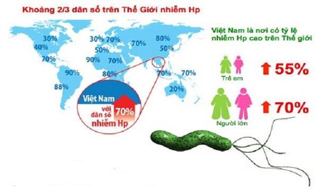 Ước tính có khoảng trên 70% dân số Việt Nam có vi khuẩn Hp trong dạ dày