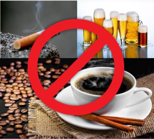 Tránh xa cá phê, rượu, bia, thuốc lá, ...