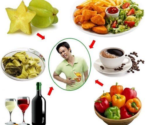 Người bệnh cần tránh ăn những thực phẩm chua, cay nóng, nhiều dầu mỡ, rượu bia