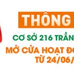 Thông báo Cơ sở 216 Trần Duy Hưng mở cửa hoạt động trở lại