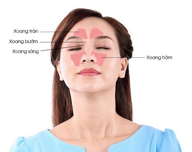 Xoang trán nằm ngay trên ổ mắt, tương đương với vị trí ở vùng lông mày.