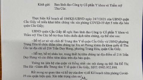 Cơ sở 216 Trần Duy Hưng tạm đóng cửa để phục vụ tiêm vắc xin Covid 19